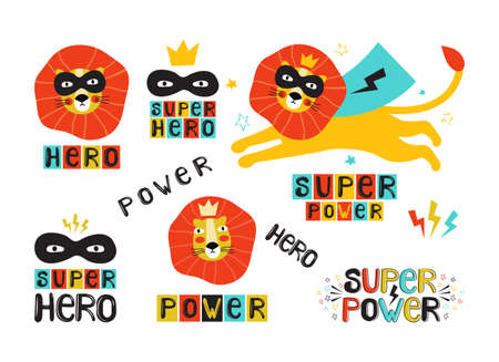Lion super hero in a black mask and cape. Leo face in a crown. Hand drawn vector illustration with the lettering phrase super power, hero. Cartoon character animal. Design for poster, sticker, t-shirt Illusztráció