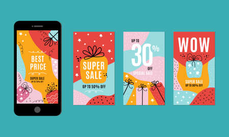 Trendy editable Stories template. Design set for social media and post creative. Mockup stories in social media. Colorful abstract background with festive elements and gifts in flat vector Illusztráció