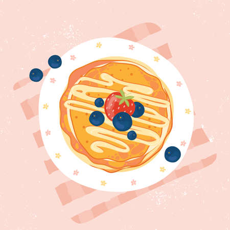 Sweet pancakes with cream, strawberries and blueberries, top view. Pancakes with berries on white plate. Baking with syrup or honey. Summer Breakfast or brunch. Hand-drawn vector illustration.