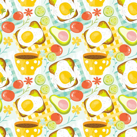 Seamless pattern healthy Breakfast in the morning - eggs, avocado, tomato, cucumber, sandwich, coffee. Good morning food in summer. Balanced diet. Hand drawn vector background delicious food.