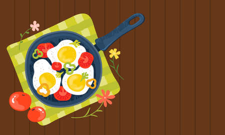Fried eggs in a frying pan with vegetables, tomatoes, peppers. Healthy brunch with fresh homemade meal on a wooden table. Traditional food. Horizontal banner template with an empty space for text