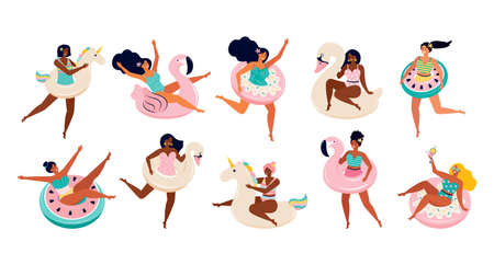 Big set of women in swimsuits with inflatable floats for swimming. Toys for the pool, the unicorn, Flamingo, donut, Swan, watermelon. Female friends have fun at a summer beach party or by the pool. Illusztráció