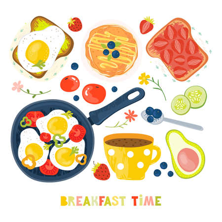 Set of products and prepared dishes for Breakfast. Toast, fried eggs, vegetables, jam, berries, coffee, fruit, vegetables, avocado, strawberries. Traditional breakfast Hand drawn vector illustration Illusztráció