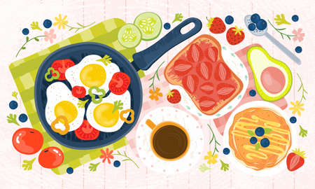 Summer healthy Breakfast - eggs, vegetables, pancakes, coffee, avocado, toast, jam, tomatoes, berries. Hand drawn illustration of a brunch with traditional food on a wooden table. Fresh farm products. Illusztráció