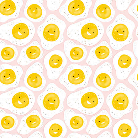 Seamless pattern with fun fried eggs smiling on a pink background. Cartoon character funny egg. Hand drawn background with food for a children healthy Breakfast. Design of print, textile, fabric.