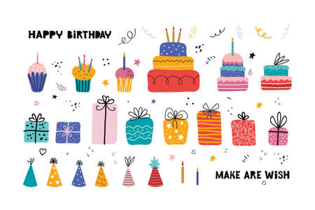 Birthday party. Birthday cake, cupcake, gift, holiday hat, lettering. Set of holiday elements for posters, cards, banners, invitations. Holiday celebration, party decoration. Hand drawn vector flat.