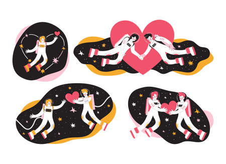 Hand drawn set cartoon characters astronauts in outer space. Cosmonauts man and woman. Loving couple is flying in space among the stars and hearts. Cosmic love in the Universe. Happy Valentines Day. Illustration