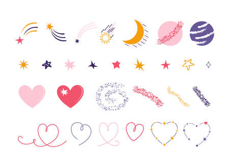 Hand drawn set of space elements isolated on a white background. Stars, meteor, comet, month, planet, moon, Mars, heart, constellation. Romantic space collection for design of posters, cards, banners.