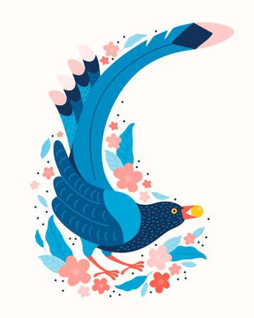 Taiwan blue magpie. Urocissa caerulea. Exotic birds of Taiwan and of Asia. Cute blue bird in hand drawn vector. Cute Blue cartoon bird. Vector flat illustration in Scandinavian style. Nature of Asia Illusztráció