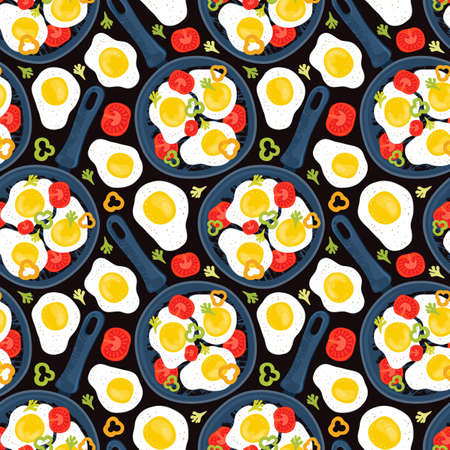 Seamless pattern fried eggs in a frying pan with vegetables, tomatoes, peppers. Healthy brunch on a table. Hand drawn background fresh homemade meal. Traditional breakfast food. International cuisine. Stock fotó