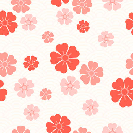 Seamless pattern of pink Sakura flowers on the background of Asian ornaments. Abstract Chinese background. Traditional Asian print. Elegant naive spring floral design elements. Blossom cherry.