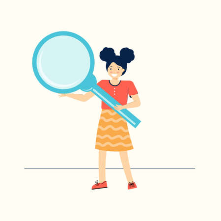 Smart schoolgirl holds a large magnifying glass. Inquisitive teenage girl explores and studies the world around her. Funny children cartoon character. Back to school. Modern flat vector illustration.