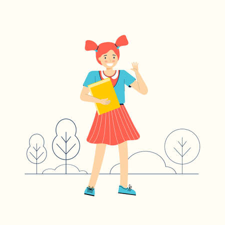 Schoolchild with a textbook goes to school. Smart girl with a book. Hand drawn funny children cartoon character. Happy smiley teenage girl. Back to school. Modern flat colorful vector illustration.