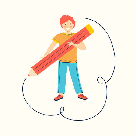 Schoolboy draws with a large red pencil. Funny teenage boy draw lines. Creative and active kid. Children cartoon character. Back to school. Modern colorful flat vector illustration. Education. Hobby.