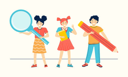 Schoolchilds are holding a textbook, pencil and magnifying glass. Back to school. Happy boy and girls are learning. Children education. Cartoon characters for children. Hand drawn vector illustration.