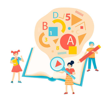 Students learn. Children learn in the classroom at school. Boy and girl read a big book, write with a pencil, get knowledge. Group of tiny figures on the background of a large textbook. Vector flat.
