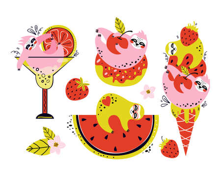 Set of cartoon characters of funny sloths. Cute bears with summer berries and fruit, ice cream, cocktail, donut. Hand drawn vector illustration.