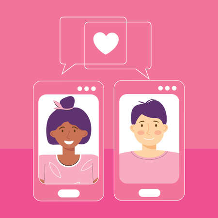 Online dating platform service application. Modern young people looking for a couple. Video chat via smartphone app. Social media, virtual relationship communication. International couple in love.