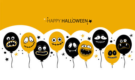 Horizontal banner template for happy Halloween. Balloons with creepy faces, jaws, teeth and open mouths. Cartoon character Ghost, monster, Jack Skellington. Place for text. Hand drawn illustration