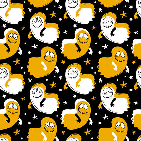 Seamless pattern happy Halloween. Cute Ghost flying at night. Creepy monster. Ghost shadow funny. Cartoon spooky character. Design for fabrics, textiles, packaging. Hand drawn vector background