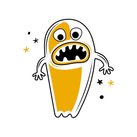 Funny monster or Ghost with horrible jaws and teeth. Cartoon character happy Halloween. Ghost shadow with its mouth open. Hand drawn vector illustration. Creative design for sticker, banner, poster