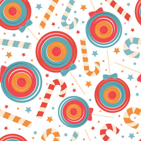 Seamless pattern from christmas candy cane, holiday sweets, Lollipop on white background. Merry Christmas and happy new year vector illustration. Design for children textile, fabric, wrapping paper. Illustration
