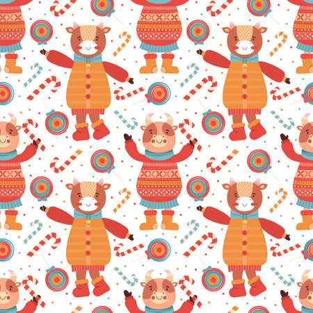 Seamless pattern cartoon funny baby bulls with Lollipop and candy cane. Mascot new year 2021. Background animal character in winter clothes. Cow, Buffalo, calf, ox. Merry Christmas and Happy New year. Illustration