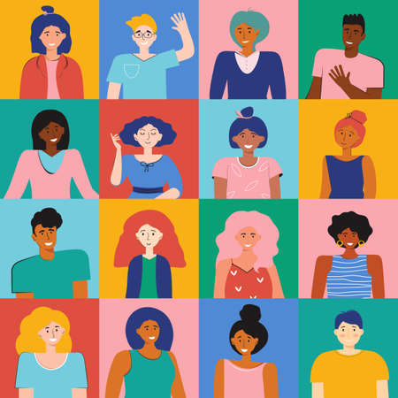 Set different person portrait of big diverse business team. Nationalities characters people. Smiling colleagues. Multicultural characters men and woman faces at square frame. Vector flat illustration.