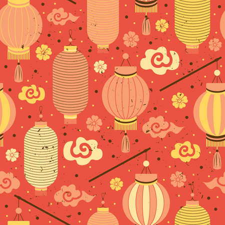 Seamless pattern red and yellow Chinese paper lanterns, Sakura, clouds. Festive Asian background with holiday symbols. Chinese New Year. For design, greeting cards, packaging paper, textiles, fabric Ilustração