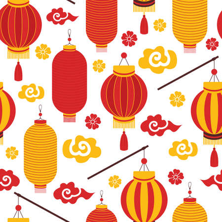 Seamless pattern red and yellow Chinese paper lanterns, Sakura, clouds. Festive Asian background with holiday symbols. Chinese New Year. For printing, textiles, wrapping paper, greeting card.