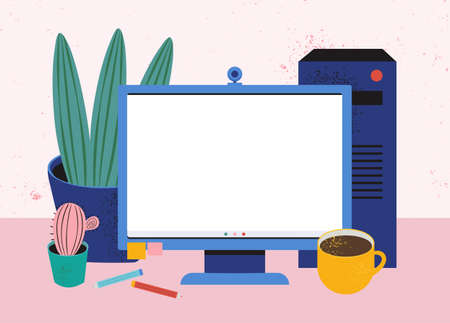 Home workplace. Cozy desktop with a computer, coffee, system unit, stationery, indoor plants. Work at home. Blank screen on the monitor for your text. Vector flat illustration. Editable template