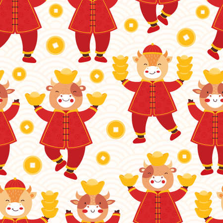 Chinese new year 2021 ox. Seamless pattern cute baby bulls in traditional red Chinese clothes with gold coins and bars. Orient zodiac fortune symbol. Hand drawn animal holidays cartoon character. Ilustrace