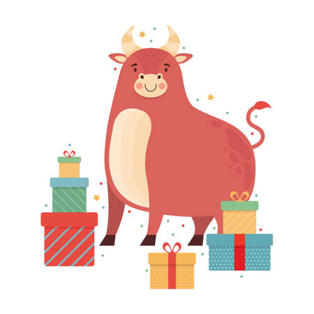 Cute cartoon bull with lots of gifts. Happy ox celebrates birthday. Funny cow character. Symbol of the 2021 New year.  Vector flat illustration. Ilustrace