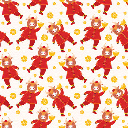 Chinese new year 2021 ox. Seamless pattern cute baby bulls in traditional red Chinese clothes with gold coins and bars. Orient zodiac fortune symbol. Hand drawn animal holidays cartoon character