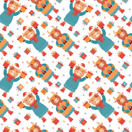 Seamless pattern cartoon funny baby bulls with gifts. Mascot new year 2021. Background animal character in winter clothes. Cow, Buffalo, calf, ox. Merry Christmas and Happy New year flat illustration.
