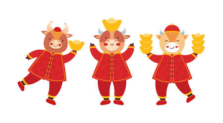 Chinese new year 2021 ox. Set cute baby bulls in traditional red Chinese clothes with gold coins and bars. Orient zodiac fortune symbol. Animal holidays cartoon character. Hand drawn illustration. Ilustrace