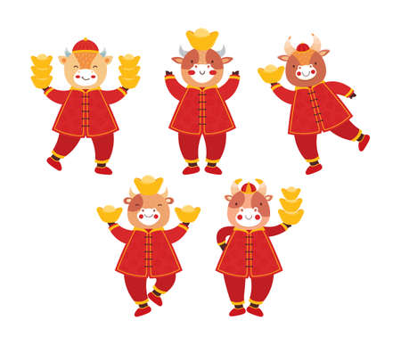 Chinese new year 2021 ox. Set cute baby bulls in traditional red Chinese clothes with gold coins and bars. Orient zodiac fortune symbol. Animal holidays cartoon character. Hand drawn illustration