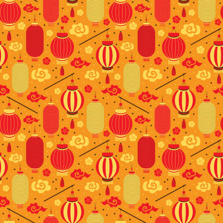 Seamless pattern red and yellow Chinese paper lanterns, Sakura, clouds. Festive Asian background with holiday symbols. Chinese New Year. For printing, textiles, wrapping paper, greeting card. Stock fotó - 157838783