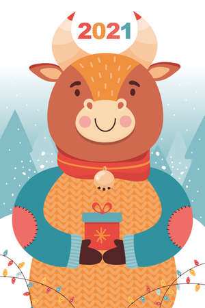New year or Christmas card. Cute bull with gift in the winter coniferous forest. Symbol 2021 year ox. Funny cartoon animal character on the background of winter landscape. Festive vector illustration