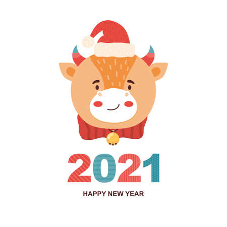 2021 mascot is the bull. Cartoon Funny character ox in a Santa Claus hat and with a bell. Close-up of a cow face. Vector illustration. Congratulatory holiday inscription