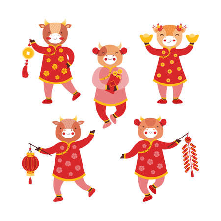 Set of cartoon baby bull girls in red traditional Chinese clothes and with new years symbols of good luck. Chinese new year ox. Festival firecracker, paper flashlight, gold coins, envelope with money