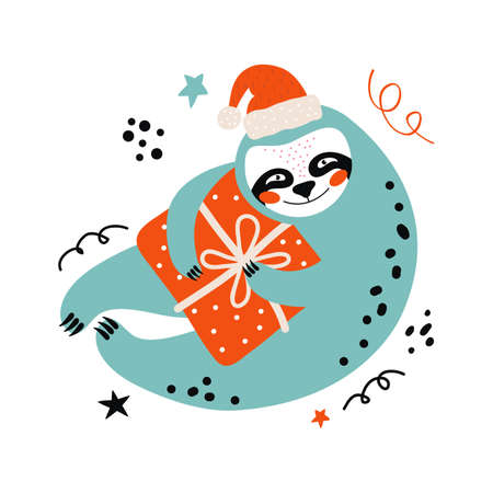Funny cartoon sloth in a Santa hat with a gift. Merry Christmas and Happy New year greeting card or banner. Hand drawn festive vector illustration a cute bear at the party. New year animal character