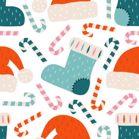 Merry Christmas and happy new year seamless pattern. Festive background with Christmas knitted sock, Santa Claus hat, candy cane, sweets. Xmas holiday vector illustration in Scandinavian style