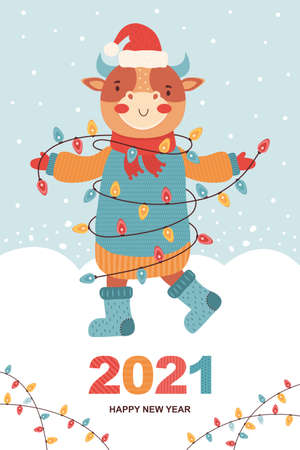 Set of Christmas and Happy New Year card.Funny bull in winter clothes, Santa hat with shining colored garland. Symbol 2021 year ox. Cartoon animal character. Winter landscape. Festive illustration
