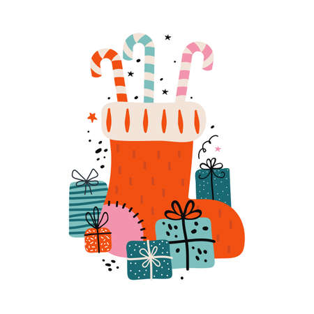 Festive Christmas sock for gifts. Red boot filled with sweets, candy cane, and a bunch of gifts. Merry Christmas and happy new year greeting card or banner. Xmas holiday vector hand drawn illustration