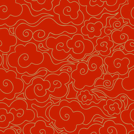 Abstract seamless pattern of Golden clouds on a red background. Chinese traditional ornament. Vintage background in Oriental style. Gold line. Hand drawn vector illustration.