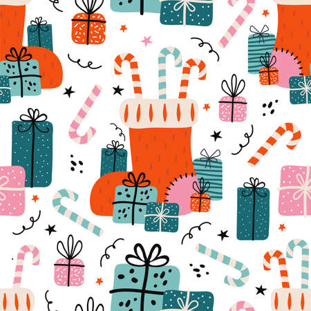 Merry Christmas and happy new year seamless pattern. Festive background with Christmas knitted sock, lots of gifts, sweets, candy cane. Xmas illustration in Scandinavian style. Vintage colors palette
