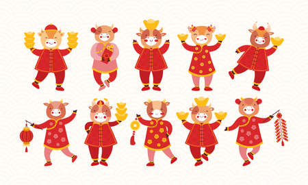 Set of cartoon kids bulls in red traditional Chinese clothes and with new years symbols of good luck. Chinese new year ox. Festive firecracker, paper flashlight, gold ingot, coins, envelope with money Vektorgrafik