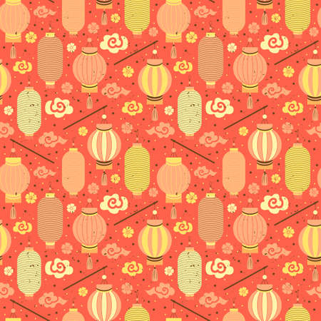 Seamless pattern red and yellow Chinese paper lanterns, Sakura, clouds. Festive Asian background with holiday symbols. Chinese New Year. For design, greeting cards, packaging paper, textiles, fabric Ilustrace