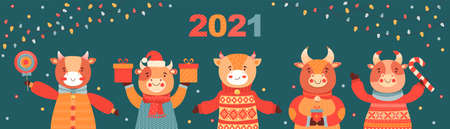 Christmas and Happy New Year vertical banner. Cute cartoon bulls with gifts and sweets. Symbol 2021 year ox. Festive background with shining light bulbs garlands. Animal character. Vector illustration